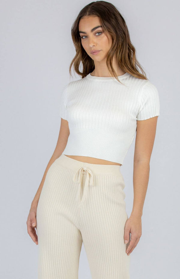 Palmer Short Sleeve Crop Top in White