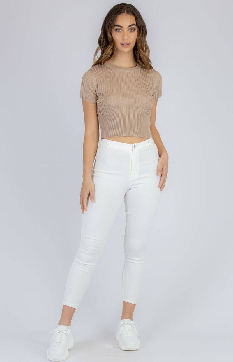 Palmer Short Sleeve Crop Top in Camel