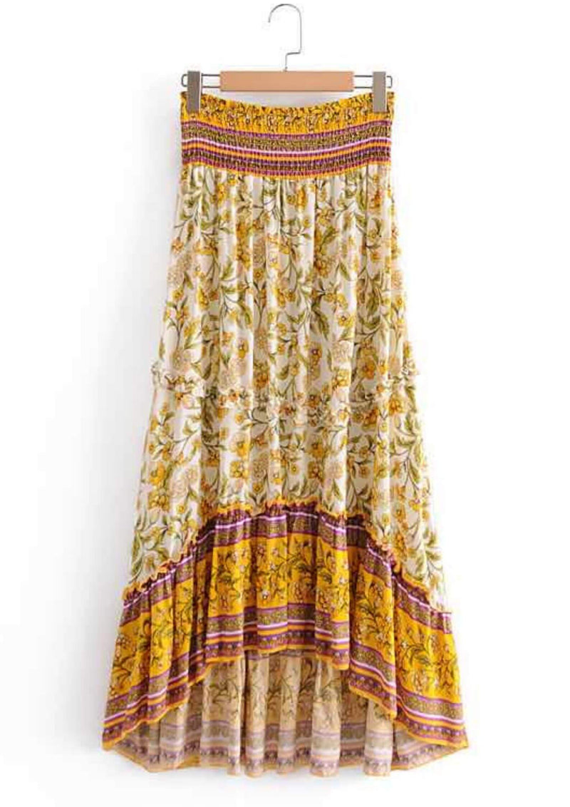 Quinn Boho Hi Low Maxi Skirt in Lemon  Frangipani Living frangipani-living2.myshopify.com