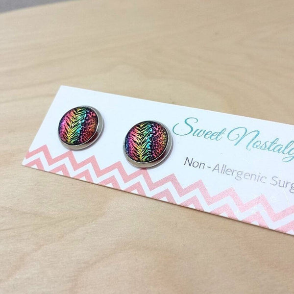 Rainbow Animal Print Tiger Stripe Glass Stud Earrrings  Frangipani Living frangipani-living2.myshopify.com