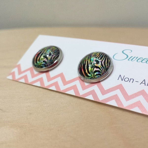 Rainbow Animal Print Zebra Stripe Glass Stud Earrrings  Frangipani Living frangipani-living2.myshopify.com