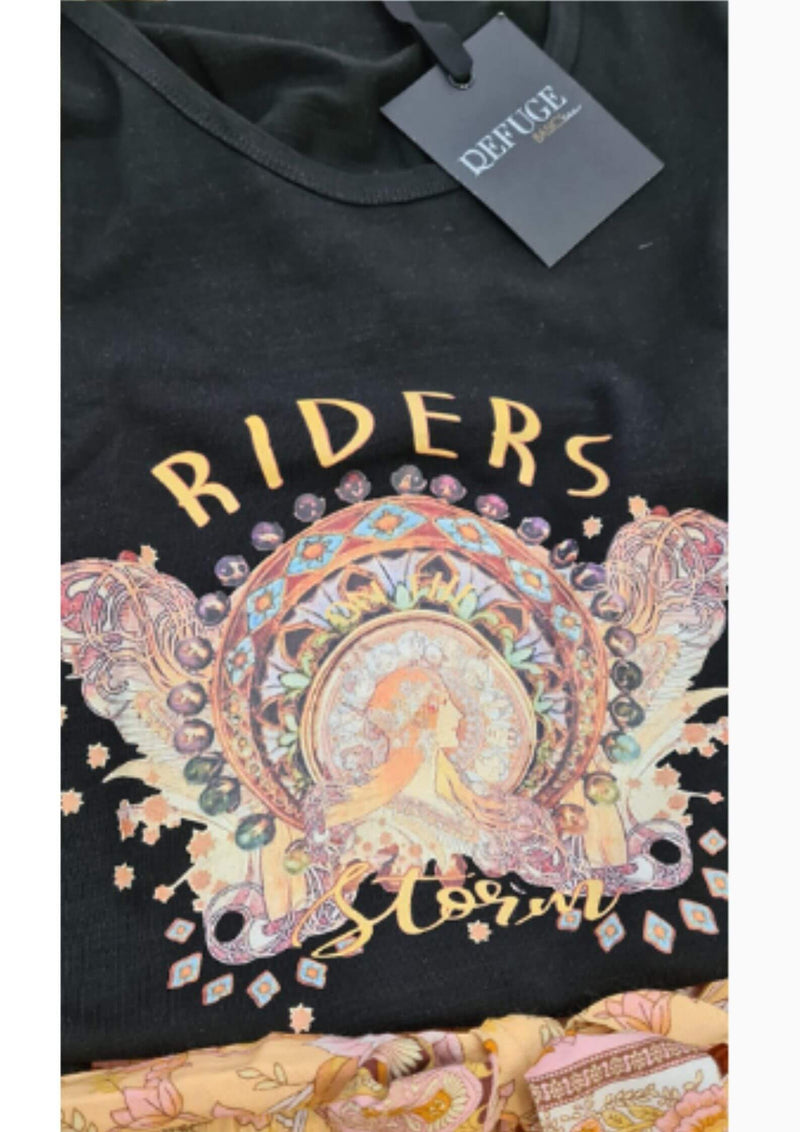 Refuge Graphic Tee Storm Riders in Black  Frangipani Living frangipani-living2.myshopify.com