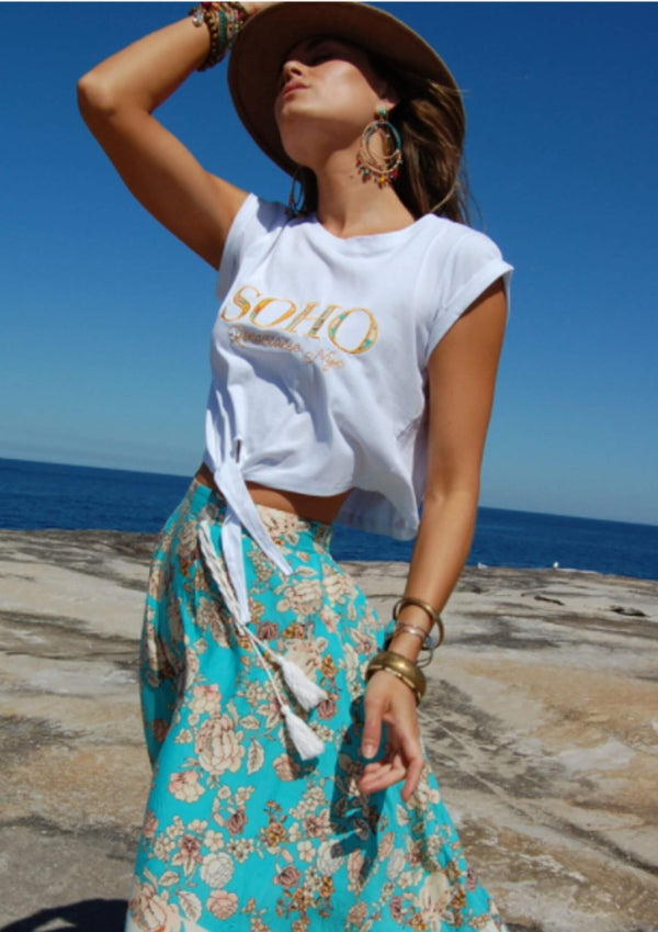Refuge Tie Front Soho Tee Top in Lemon  Frangipani Living frangipani-living2.myshopify.com