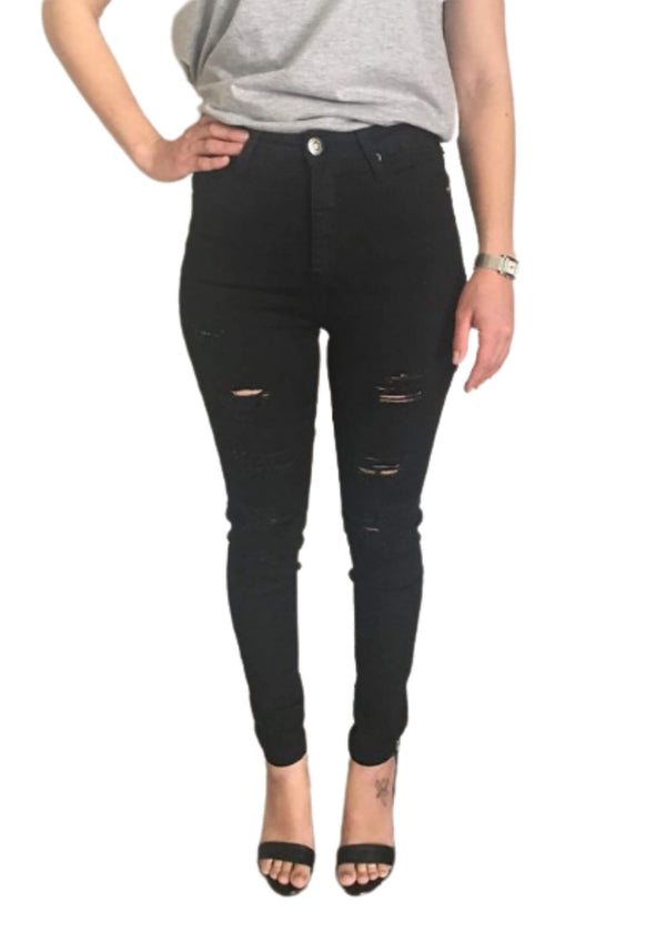 High Waisted Ripped Denim Skinny Jeans in Black