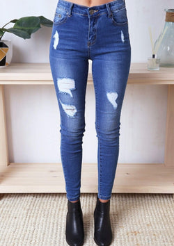 High Rise Ripped Denim Skinny Jeans in Mid Blue  Frangipani Living frangipani-living2.myshopify.com
