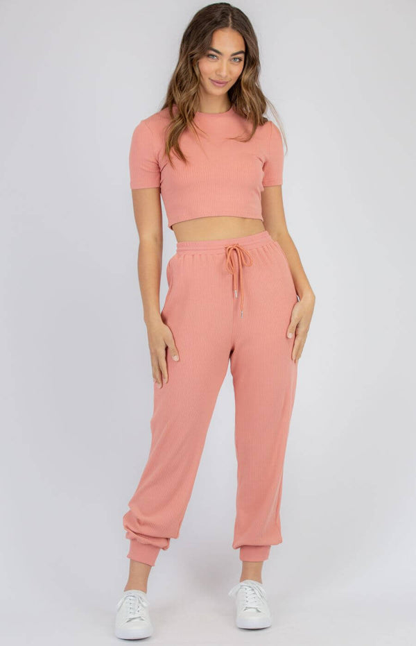 Sabrina Leisure Crop Top and Jogger Set in Rose