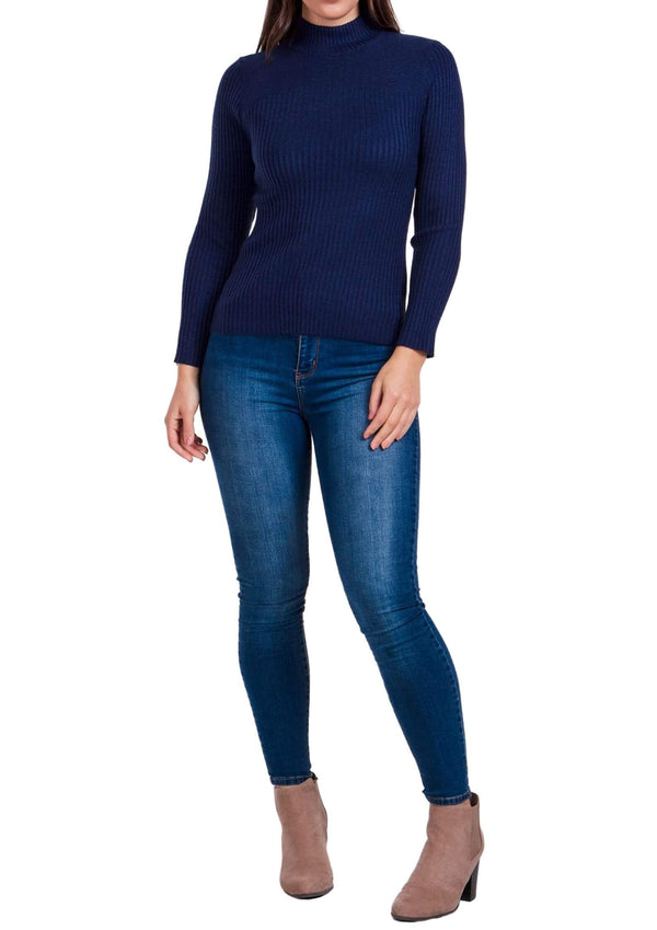 Sammie Ribbed Knit Long Sleeve Top in Dark Blue  Frangipani Living frangipani-living2.myshopify.com