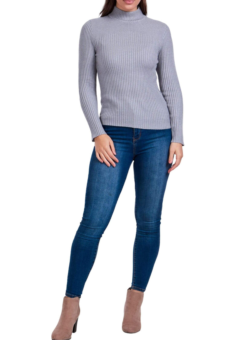 Sammie Ribbed Knit Long Sleeve Top in Grey  Frangipani Living frangipani-living2.myshopify.com