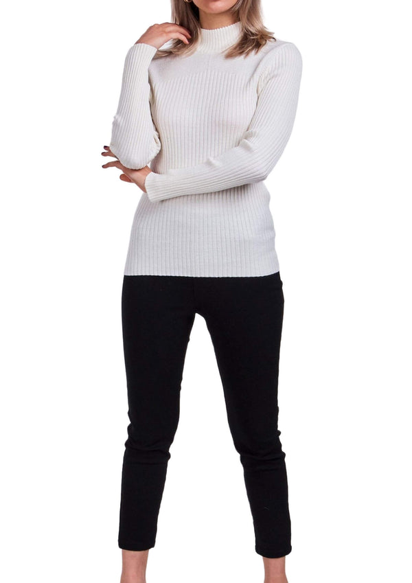 Sammie Ribbed Knit Long Sleeve Top in Off White  Frangipani Living frangipani-living2.myshopify.com