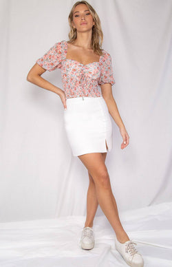 Shailie Peasant Crop Top in Pink Floral