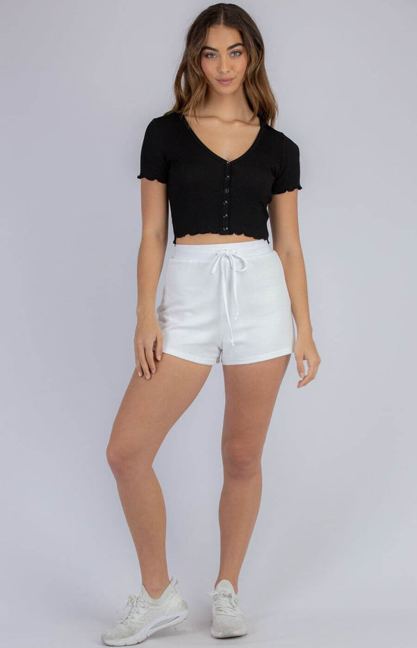 Sharnie Button Front Crop Top in Black  Frangipani Living frangipani-living2.myshopify.com