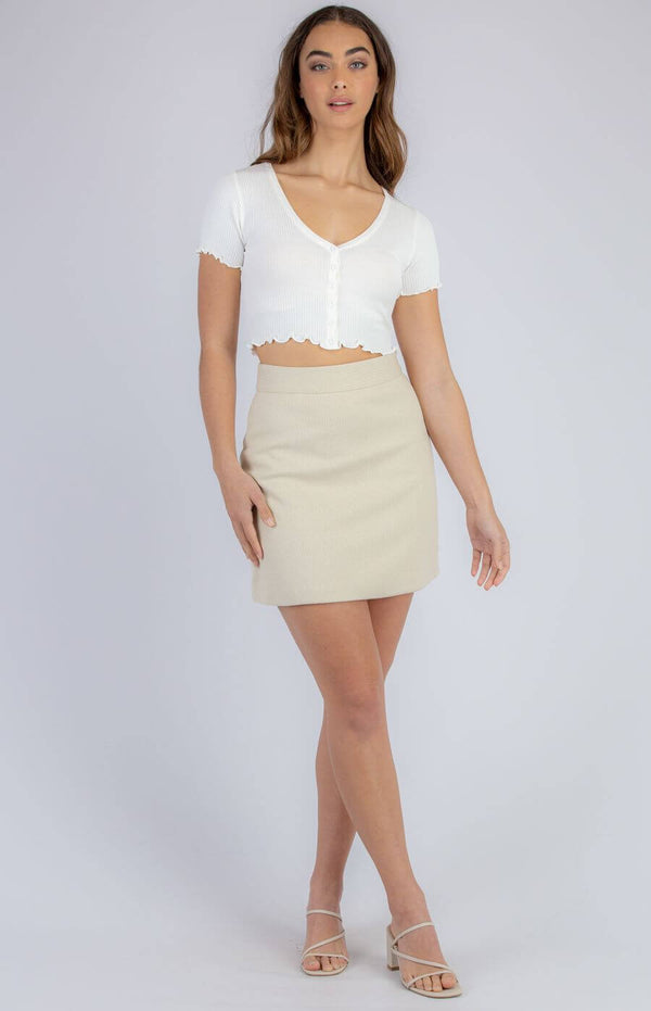 Sharnie Button Front Crop Top in White