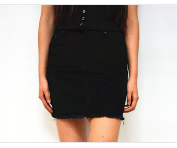 Short Denim Skirt With Fringe Hem in Black