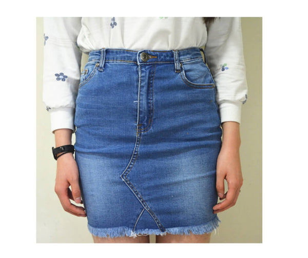Short Denim Skirt With Fringe Hem in Mid Blue