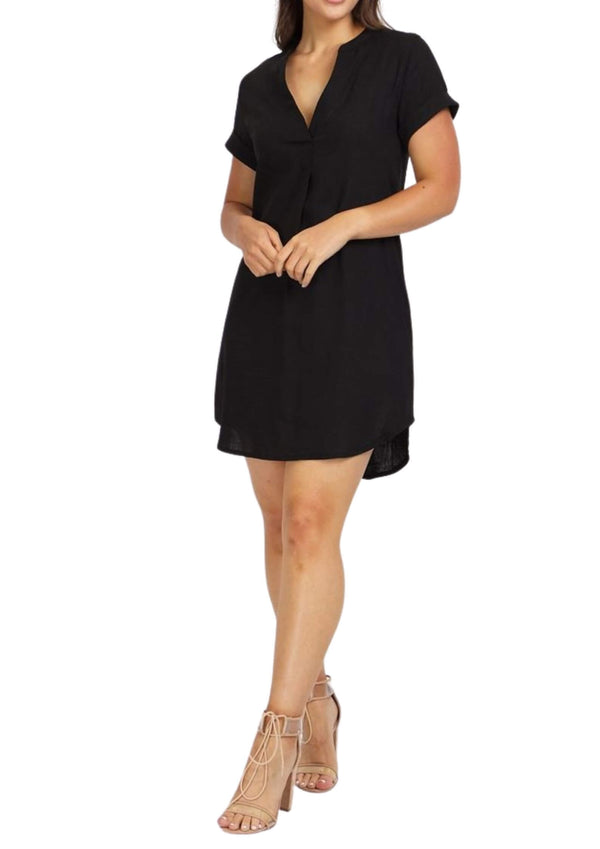 Sienna Linen Shift Dress in Black