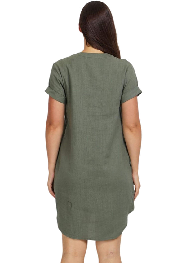 Sienna Linen Shift Dress in Khaki