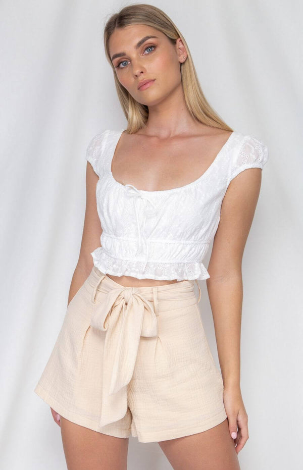 Sophie Broderie Cotton Top in White