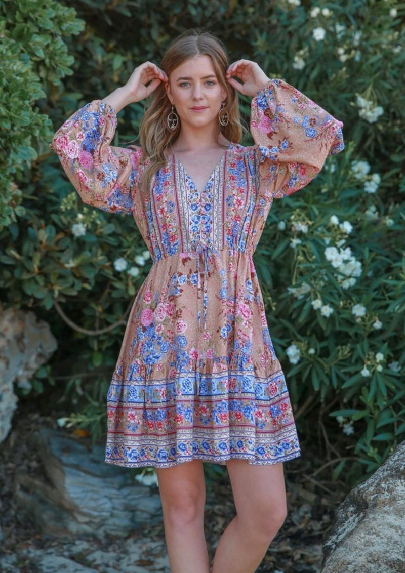 St Biarritz Boho Dress with Long Sleeves in Mocha