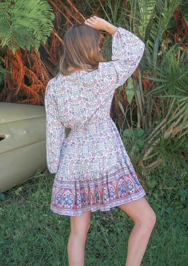 St Biarritz Boho Dress with Long Sleeves in White