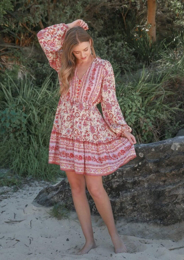 St Biarritz Boho Dress with Long Sleeves in Berry