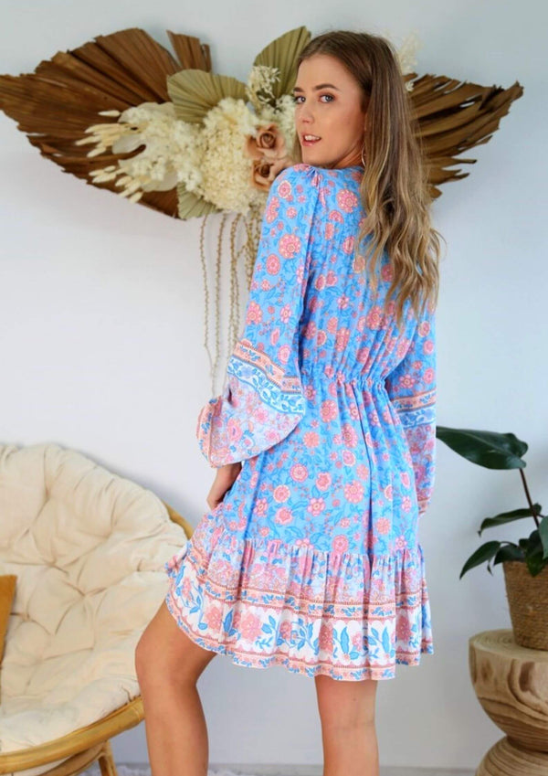 St Biarritz Boho Dress with Long Sleeves in Blue and PInk
