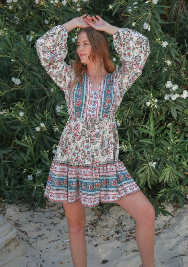 St Biarritz Boho Dress with Long Sleeves in Teal