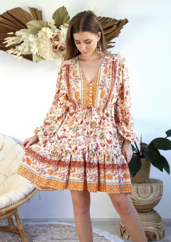 St Biarritz Boho Dress with Long Sleeves in Autumn