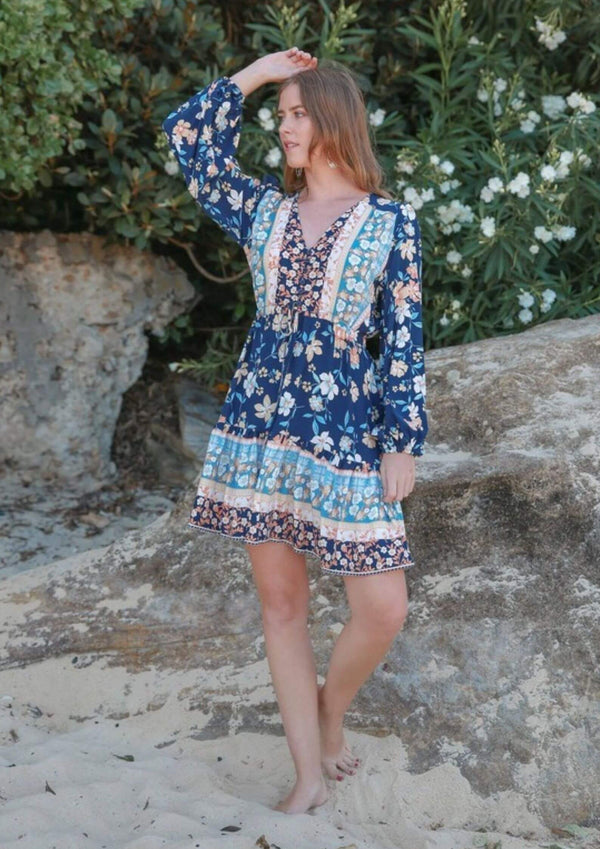 St Biarritz Boho Dress with Long Sleeves in Dark Blue