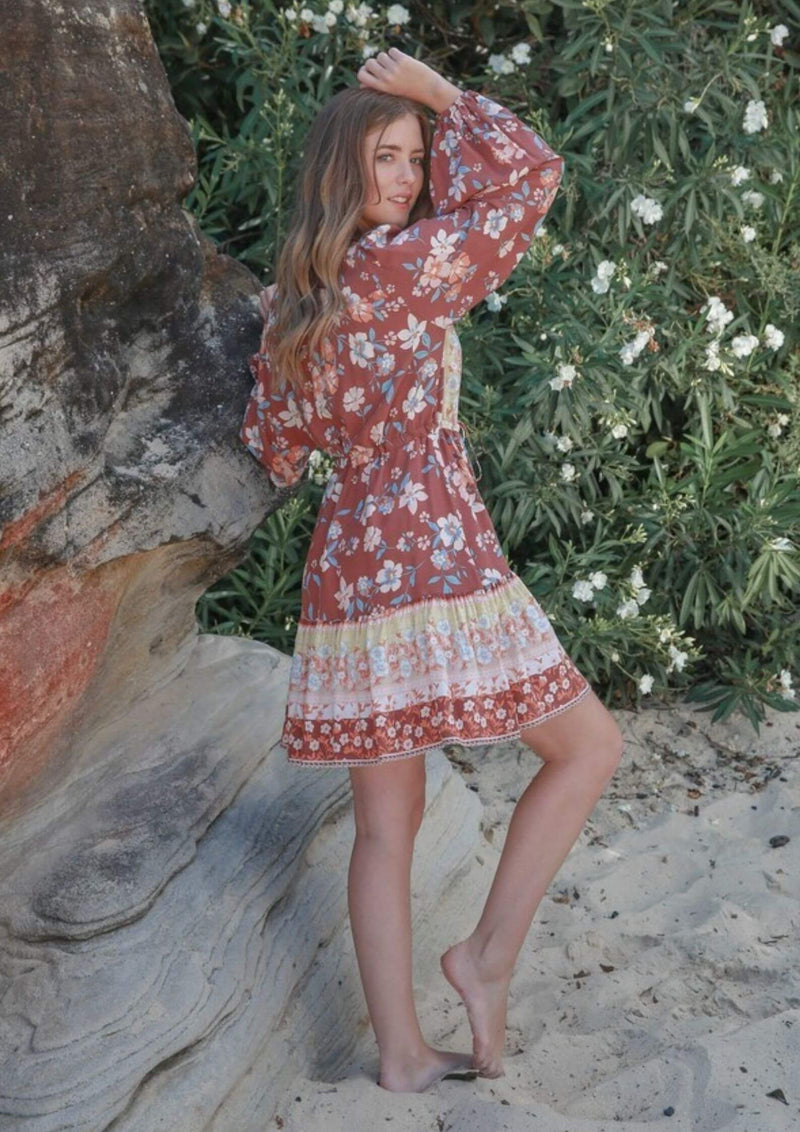 St Biarritz Boho Dress with Long Sleeves in Rust
