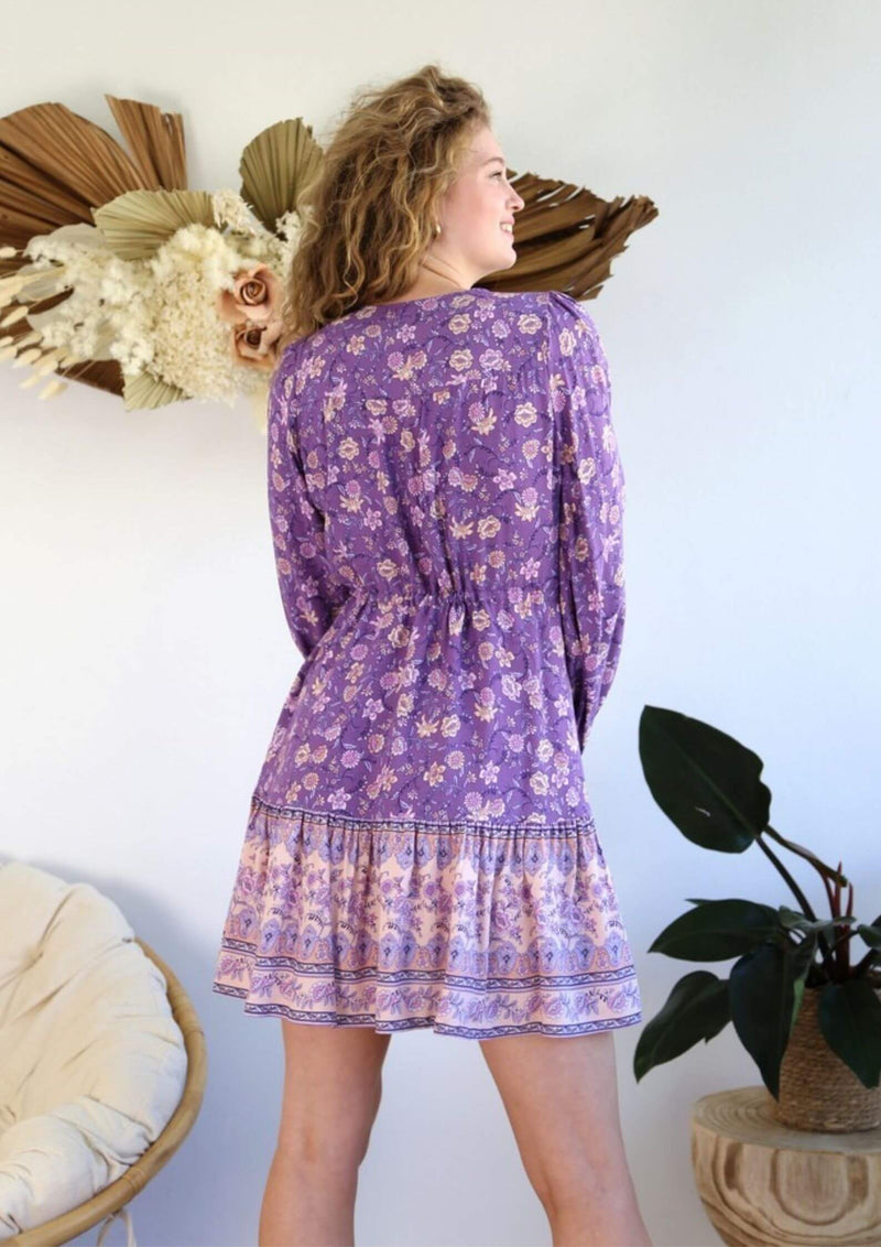 St Biarritz Boho Dress with Long Sleeves in Amethyst
