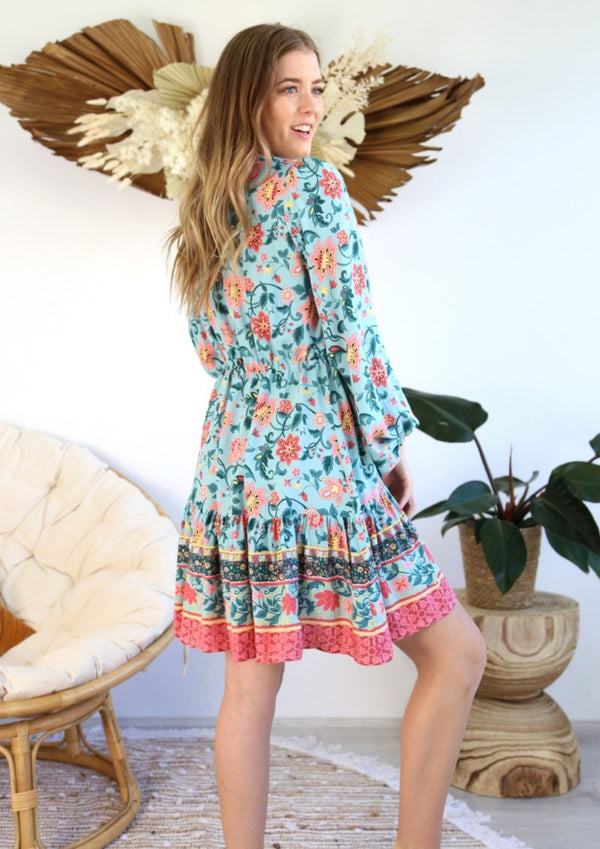 St Biarritz Boho Dress with Long Sleeves in Jade