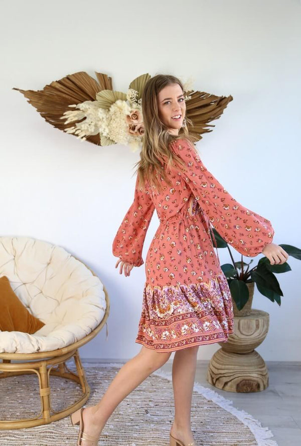 St Biarritz Boho Dress with Long Sleeves in Pink