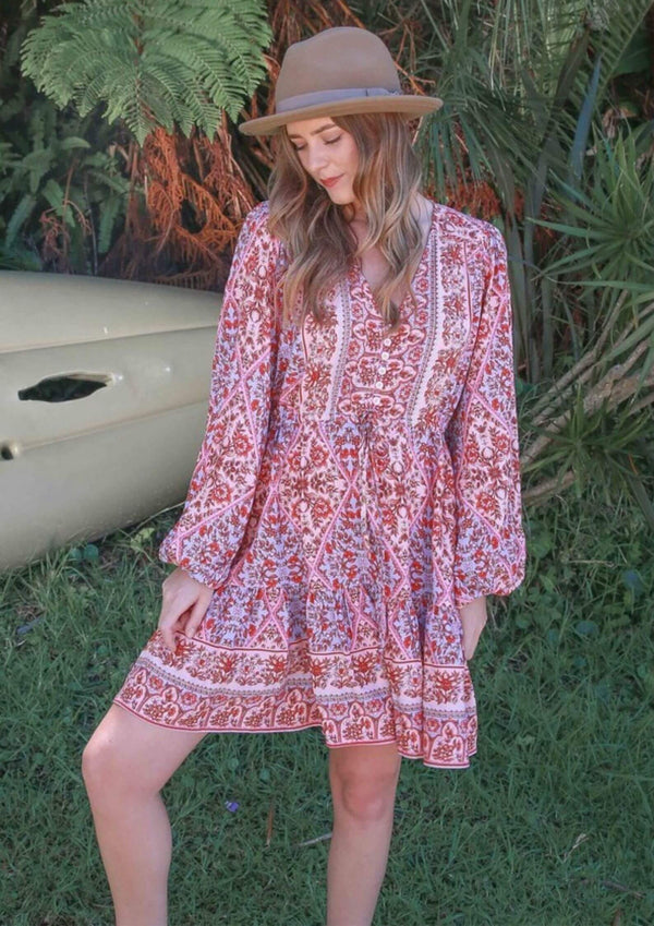 St Biarritz Boho Dress with Long Sleeves in Ruby