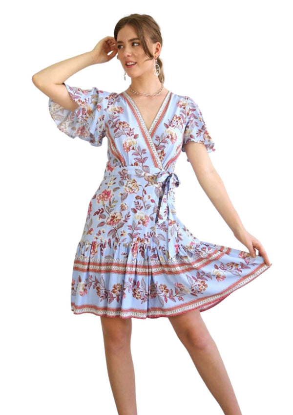 St Clair Boho Wrap Dress in Blue Floral