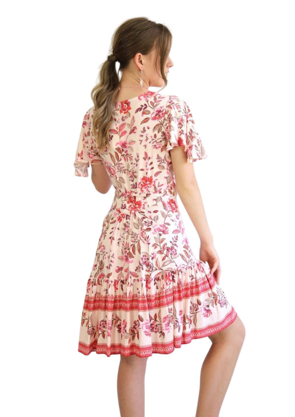 St Clair Boho Wrap Dress in Pink Floral