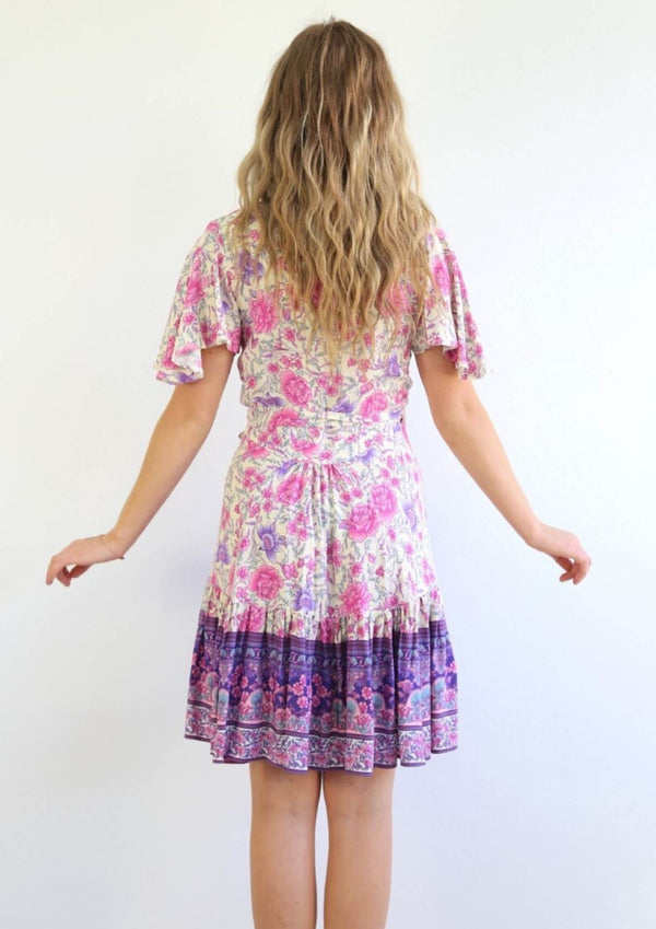St Clair Boho Wrap Dress in Purple and Pink