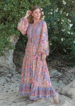 St Croix Boho Maxi Dress with Long Sleeves in Mocha