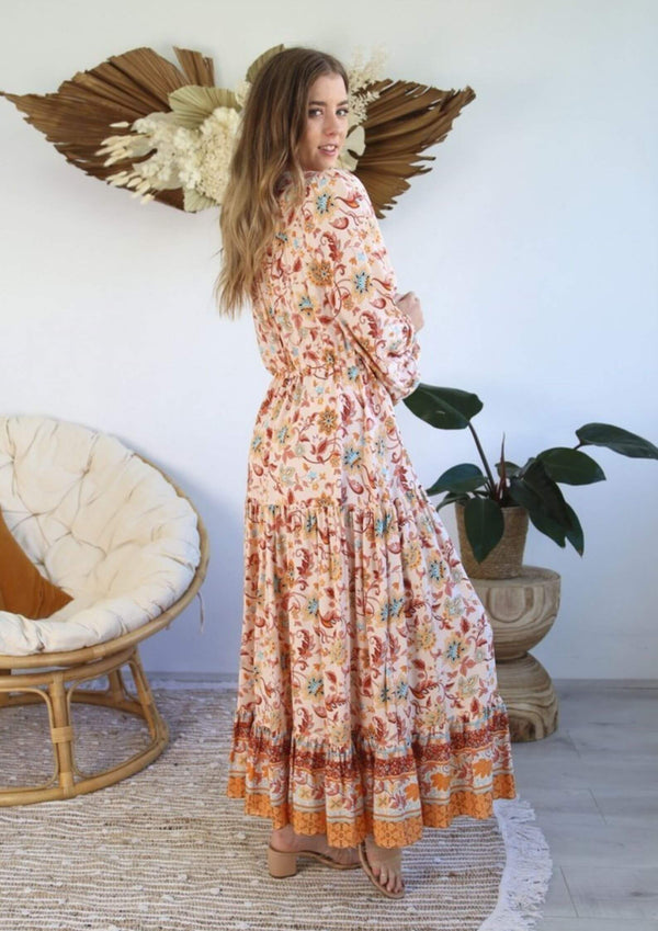 St Croix Boho Maxi Dress with Long Sleeves in Autumn