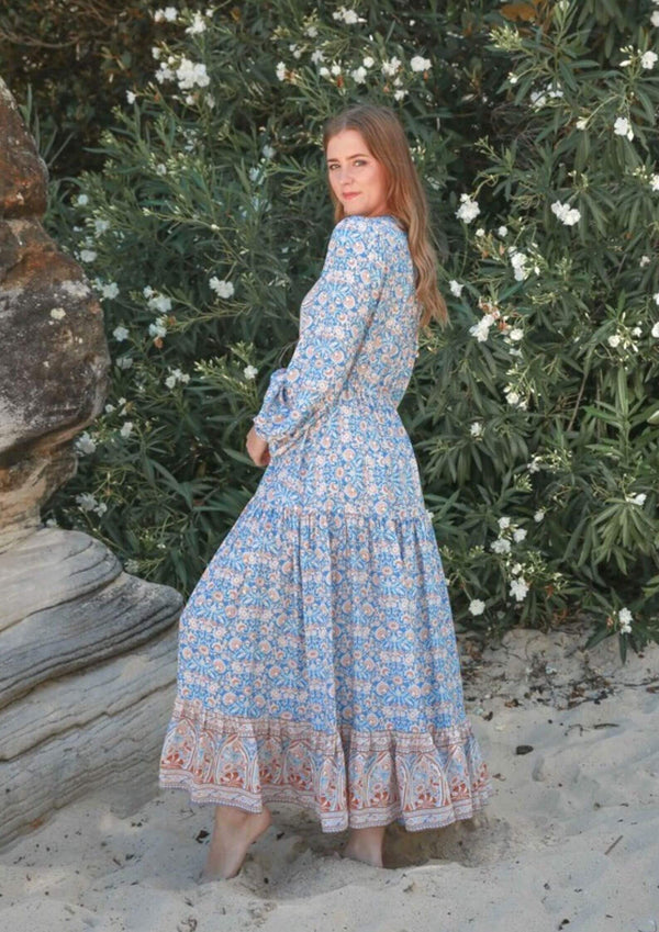St Croix Boho Maxi Dress with Long Sleeves in Blue