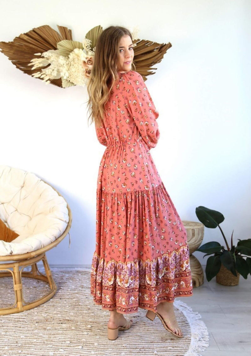 St Croix Boho Maxi Dress with Long Sleeves in Pink