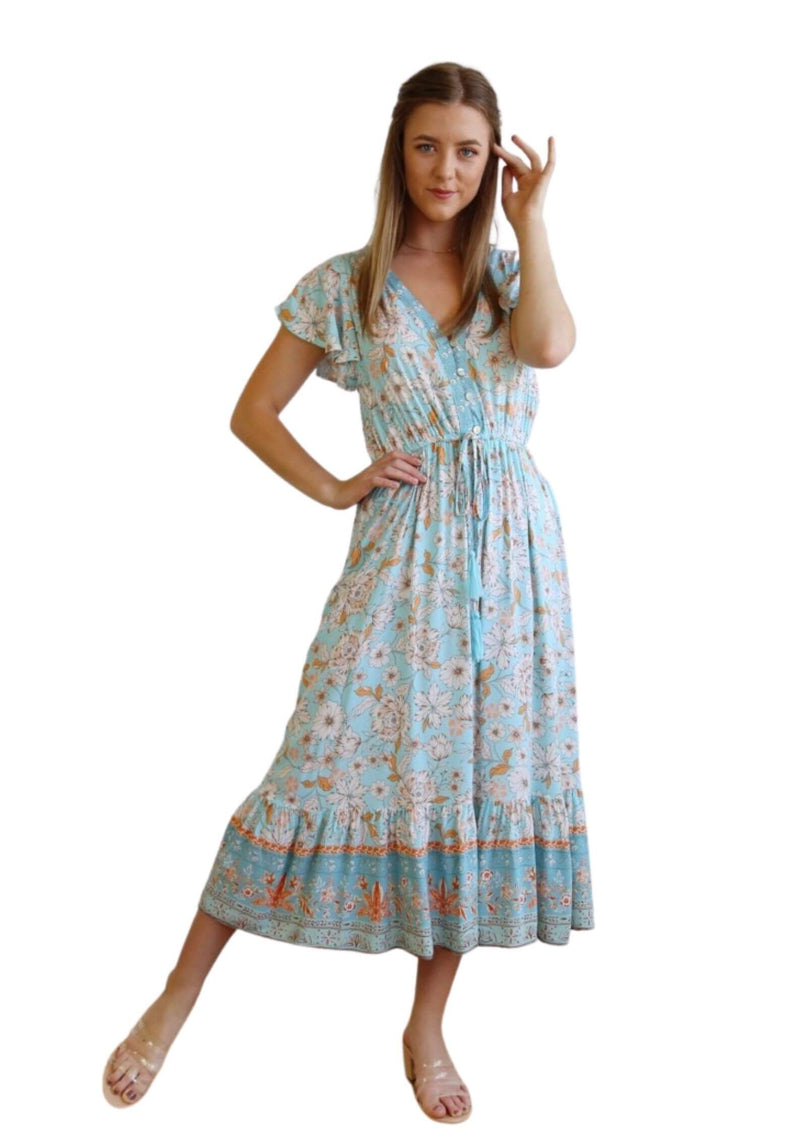 St Croix Boho Short Sleeve Midi Dress in Aqua  Frangipani Living frangipani-living2.myshopify.com