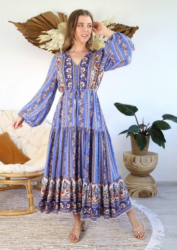 St Croix Boho Maxi Dress with Long Sleeves in Sapphire