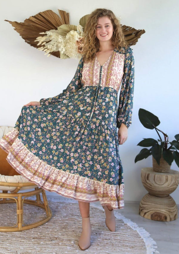 St Croix Boho Maxi Dress with Long Sleeves in Bottle Green
