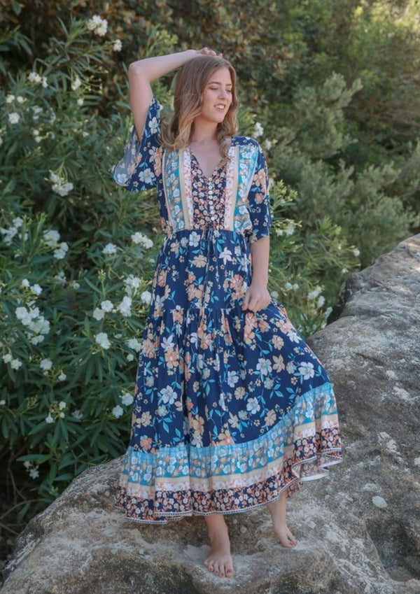 St Ives Boho Maxi Dress in Dark Blue