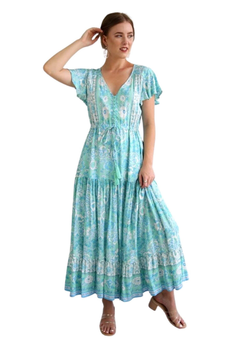 St Lucia Boho Maxi Dress in Spearmint  Frangipani Living frangipani-living2.myshopify.com