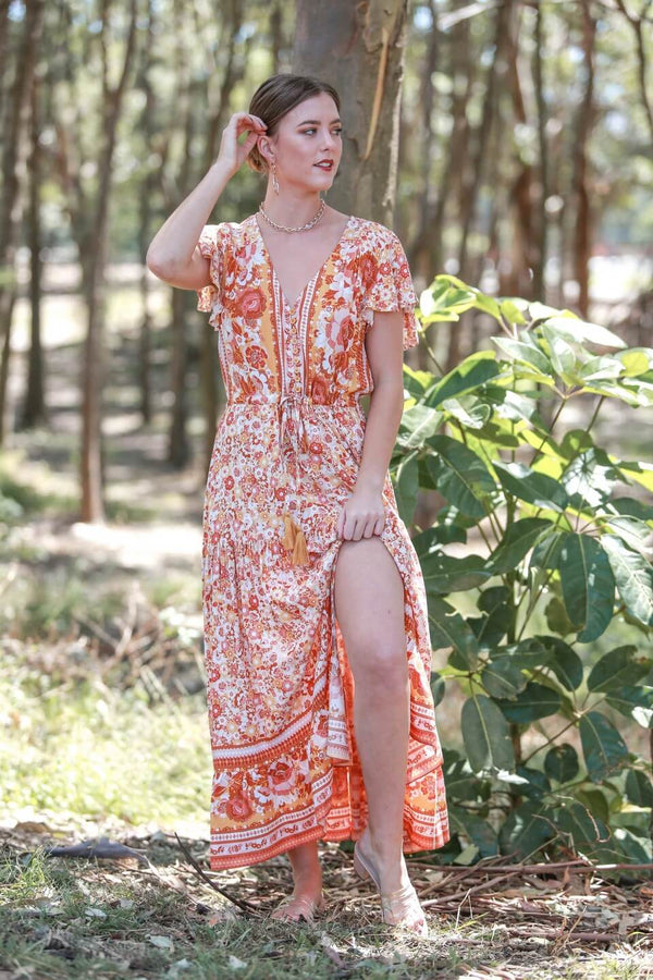St Lucia Boho Maxi Dress in Citrus