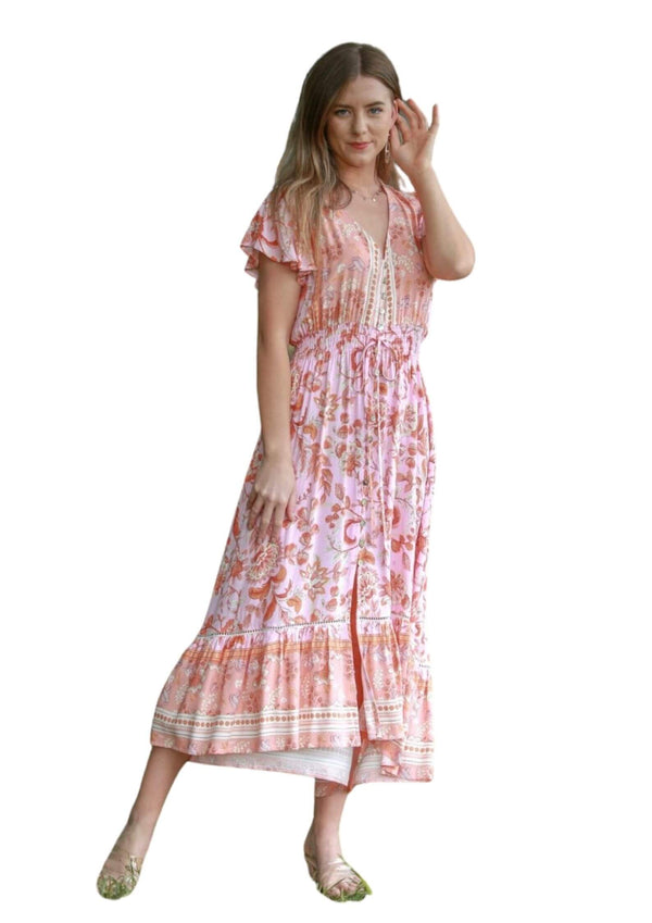 St Maria Boho Midi Dress in Peach  Frangipani Living frangipani-living2.myshopify.com