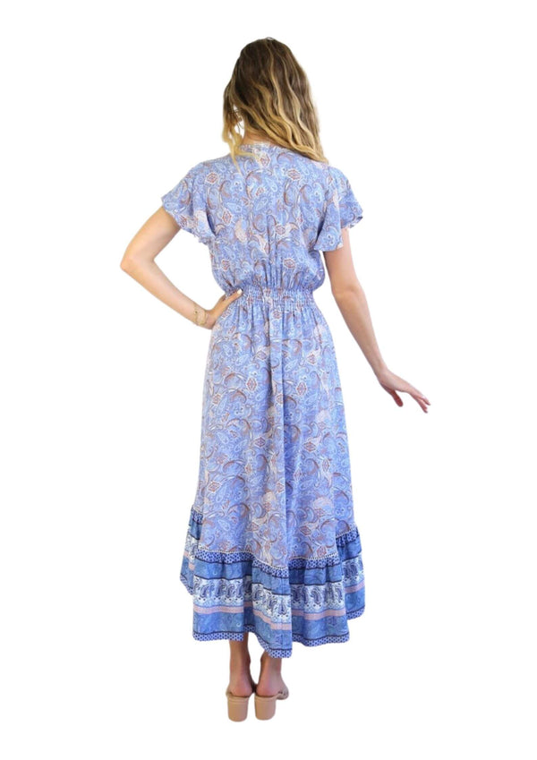 St Maria Boho Midi Dress in Blue