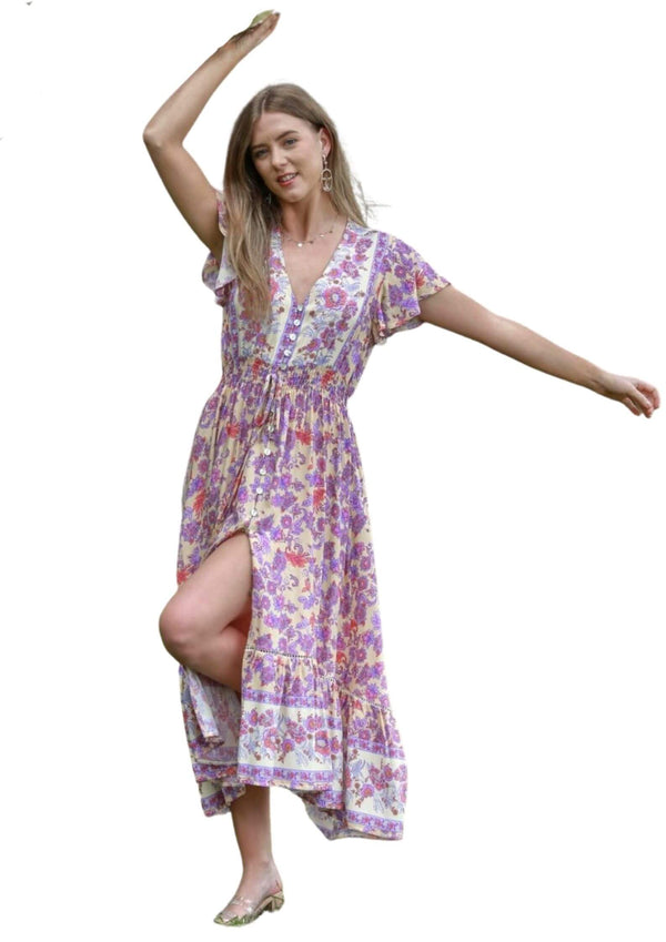 St Maria Boho Midi Dress in Lilac Cream  Frangipani Living frangipani-living2.myshopify.com