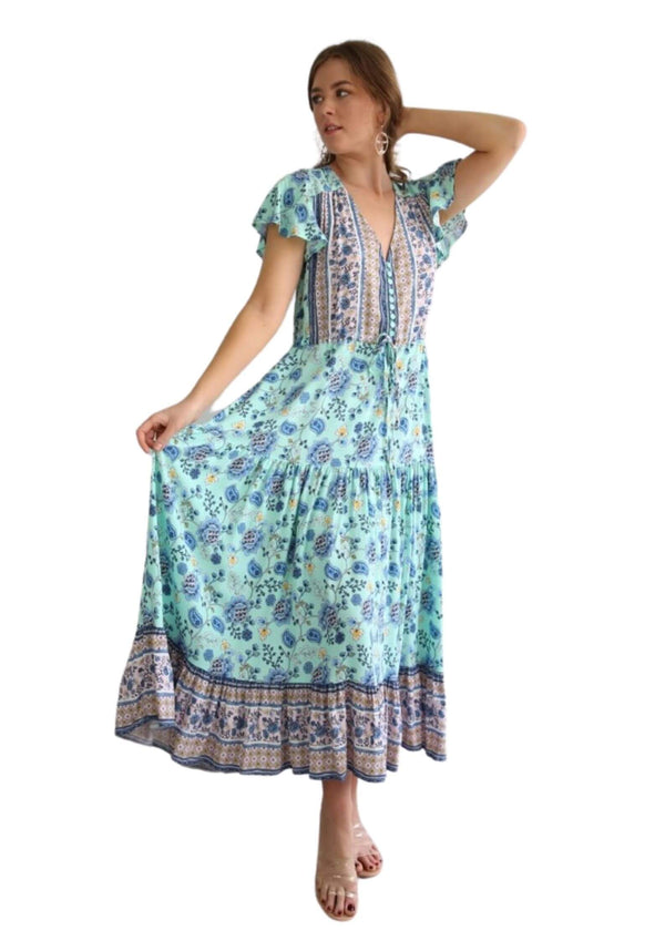 St Martinez Boho Maxi dress in Aqua  Frangipani Living frangipani-living2.myshopify.com